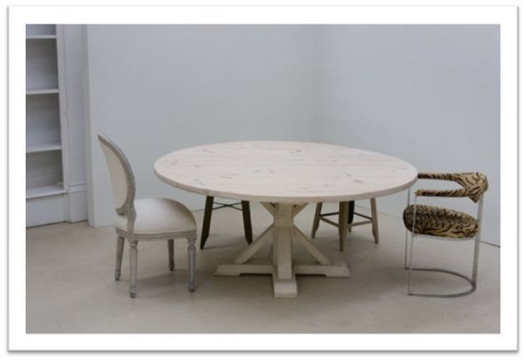 Victor Round Dining Table - in american oak, light french paint finish