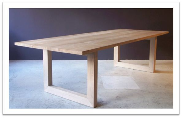 Victor Dining Table U Shpae Legs - in american oak, raw finish